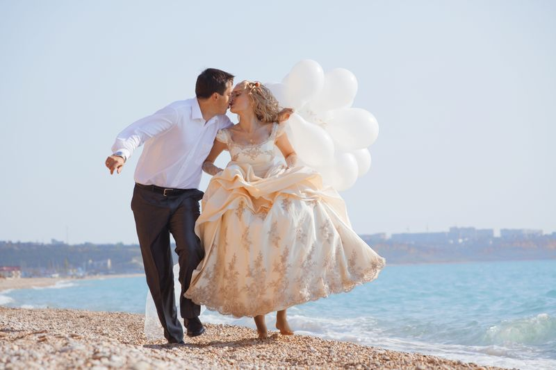 Wedding balloons on the beach